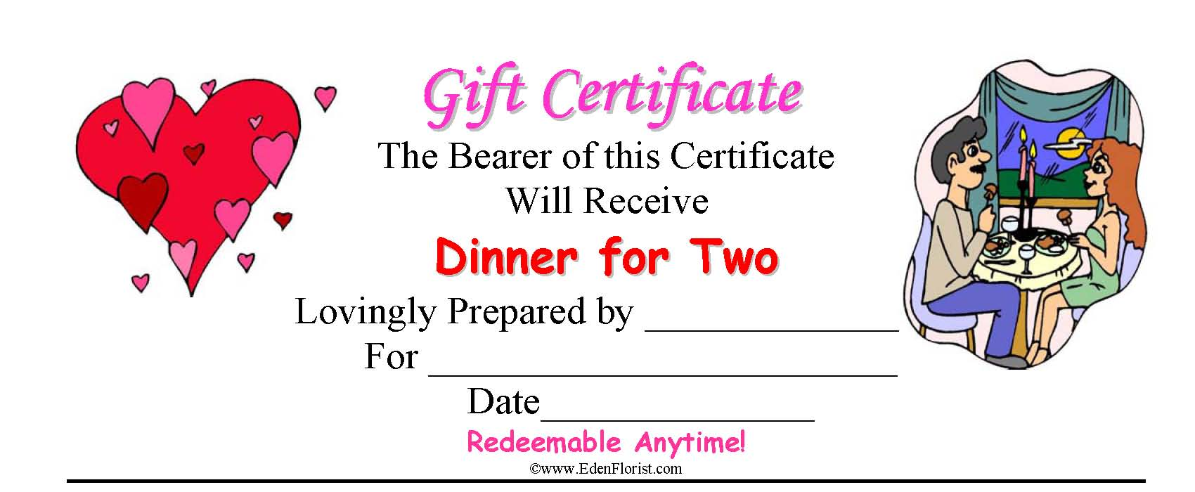 dinner for two romance coupon